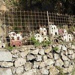 Minitaure houses along Amalfi coast road