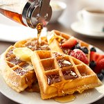 Freshly waffles with our free hot breakfast.