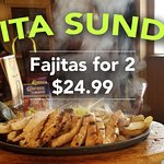 Fajitas for 2 for only $24.99 all day! 5 delicious Fajitas to choose from!
