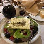 Greek salad, with fresh ingredients.