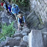 There are stone steps all the way up but wear your hiking boots!