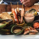 'No Batter Seafood Platter' - Freshly prepared seafood selection of mussels, oysters, Kokoda, pa