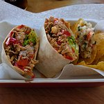 Pulled Pork Buritto: Flour tortilla with caramelised onion, sliced capsicum, lettuce, cheese...