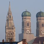 Church Twin Towers and Neues Rathaus Tower