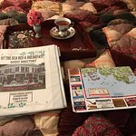 Cookies and tea, along with a binder full of places to go and a map of Plymouth.