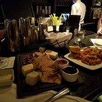 Cheese platter and calamari appetizers