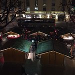 View of the Christmas markets out the bedroom window, at night
