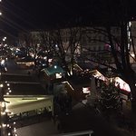 View of the Christmas markets out the bedroom window, looking left