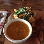 Tomato pesto soup with 1/2 Atlantic Cod sandwich