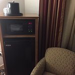 large mini-fridge and microwave
