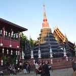 Lanterns adorn the temple ground.