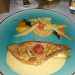 Red fish with butter sauce