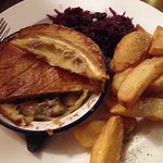 Smoked Rabbit Pie, Spiced Red Cabbage & Chips