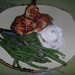 Chicken, mash and green beans