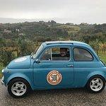 "Tim driving Roberto, 'The Bad Boy"" blue Fiat 500."