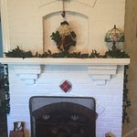 Downstairs parlor gas fireplace is ready for the holidays!