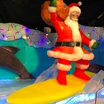 Ice Land -- this surfing Santa and everything around him except the Xmas lights is made entirely