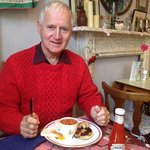 brother in law tucks into bubble and squeak with great vintage surroundings