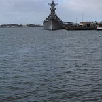 USS Missouri off in the distance helps you to imagine what the Arizona was like.