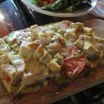 Chicken Pesto flatbread - along with a salad!