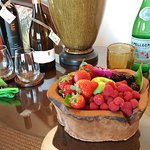 Complimentary fresh fruit tray and sparkling water at check-in.