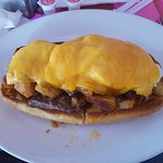 Steak sub with eggs and cheese and homefries