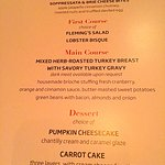 Thanksgiving menu. Regular menu also available on Thanksgiving.