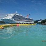 Mahogany beach close to cruise ship