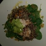 Fish , quinoa , pumpkin , i think i mashed it up before this photo !
