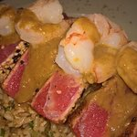 OMG Seared rare tuna, shrim, and the most amazing fried rice