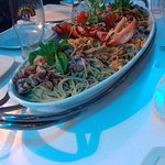 This was a massive serving of 5 different seafood pastas which we had as a starter