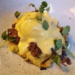 BUBBLE & SQUEAK HASH, STICKY PULLED LAMB SHOULDER, POACHED EGG, BÉARNAISE SAUCE