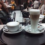 A nice cappucino and a latte macchiato with coconut syrup.