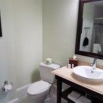 Bathroom, notice the slightly angled toilet