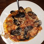 Frutti de Mare: 6 different seafood selections on pasta GREAT!