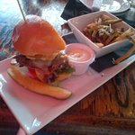 Mexican Burger with Chipotle Mayo and Garlic Parm Fries