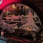 Beautiful window snow art of the mountains and Island, Roy's Towne Pub, 4000 Island Hwy | Roysto