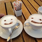 Happy coffe's made by beach bar crew.