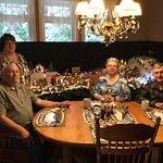 Breakfast in their dining room. Big bonus of having a Christmas Village behind us.