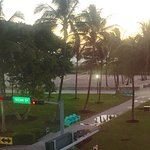 View from corner room on top floor, facing Ocean Drive, Lummus Park and the Atlantic Ocean beyon