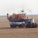 St Annes Lifeboat being brought back by tractor