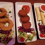 Tapas Kalamari, fish cake and salmon (small parcels = spring roll) Verdict 7/10
