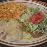chile relleno, rice and beans