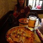 Tignale pizza with the beer and lasagnia spritz
