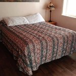The Queen bed in the cabin