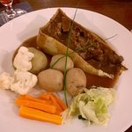 Deep filled Beef & Ale pie, there was a dishfull of vegetables to help yourself too.