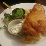 Beer battered fish and chips, pea puree, tartare sauce Fabulous