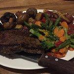 Steak and veggies and chicken parmigiana