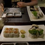 Spicy Philadelphia roll, beef teriyaki roll, chicken teriyaki roll, and one whose name escapes m