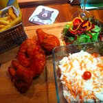 Buffalo Fried Chicken and coleslaw and fries
